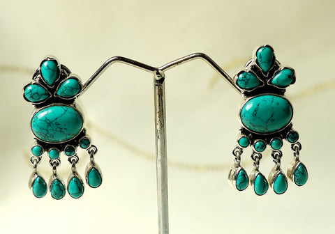 Daily wear silver earrings with semi-precious stones design 4