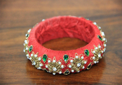 Thick Red Zardozi Bangle