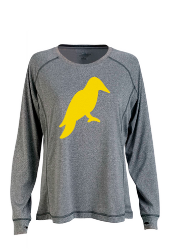 WOMENS LONG SLEEVE HEATHER GREY MÉ LANGE TECH TEE - Yellowhammer Supply Co.