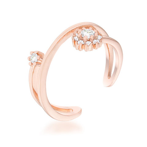 Rose Gold Dual Cluster Ring