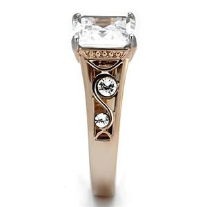 Two Tone Clear CZ Statement Ring
