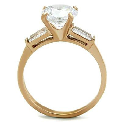 Rose Gold Stainless Steel CZ Ring