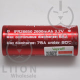 Vapcell IFR26650 55A/75A Flat Top 2600mAh Battery - Side