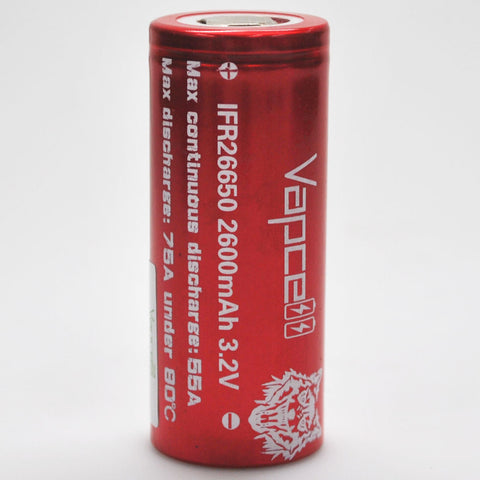 Vapcell IFR26650 55A/75A Flat Top 2600mAh Battery