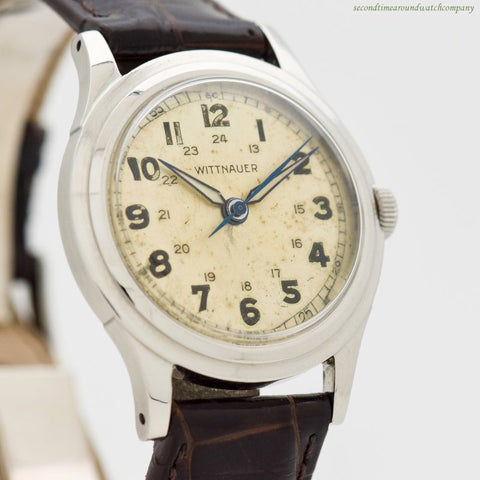 1940's Vintage Wittnauer WWII-era Military Stainless Steel Watch