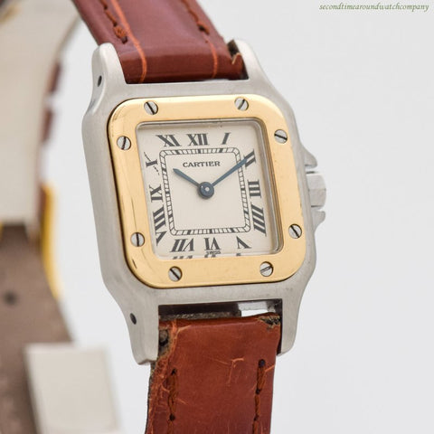 1990's era Cartier Santos Ladies 18k Yellow Gold & Stainless Steel Watch