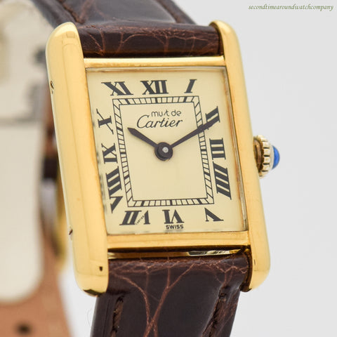 1980's era Cartier Tank Must De Ladies's Sized 18k Yellow Gold Plated Watch