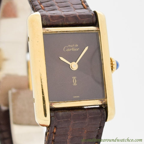 1990's Cartier Tank Must De Ladies' Sized 18k Yellow Gold Plated Watch