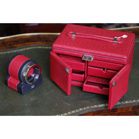 Scatola Del Tempo Luxury Red 'Ostrich' Leather Jewelley Box & Timepiece Winder 85053.06
