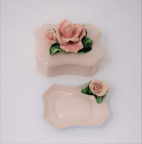 Vintage Capodimonte Baby Pink and Blue Trinket Box and Pin Tray