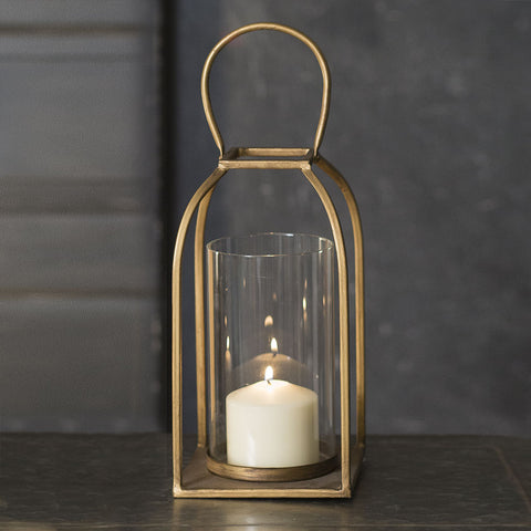 14 Inch Glass and Gold Finish TRIBECA Candle Lantern