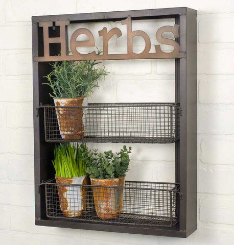 Rustic Garden Laser-Cut Metal Two-Tier HERBS Rack with Removable Baskets