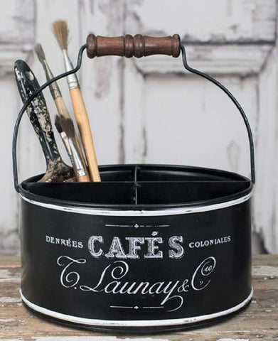 Rustic French Script 4 Section Metal Storage Caddy