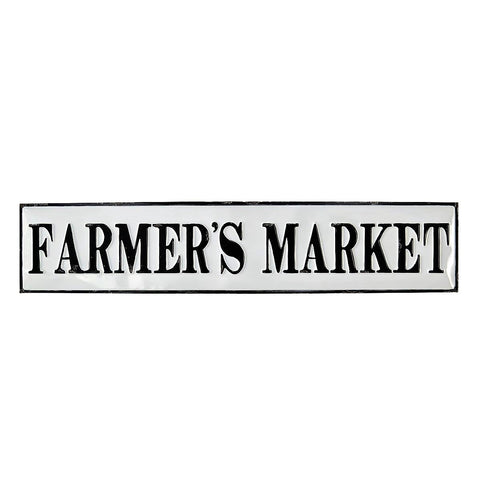 "37"" Industrial Embossed Enameled Metal FARMER'S MARKET Sign"