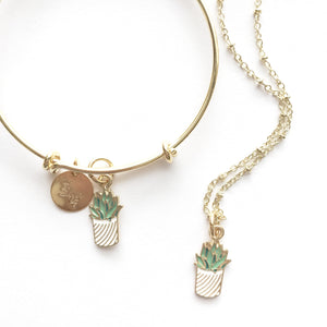 Succulent Charm Necklace || Golden Summer