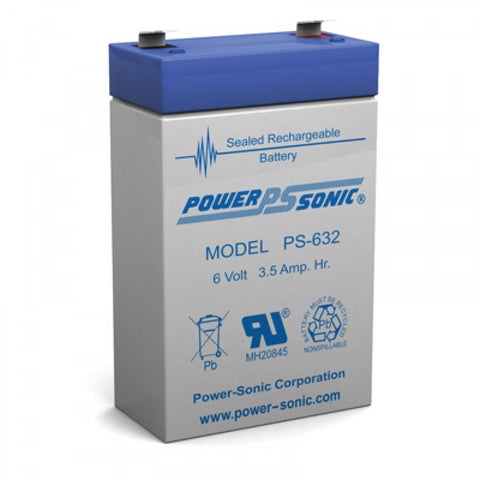 PS-632 - POWERSONIC 6V 3.5AH SLA BATTERY
