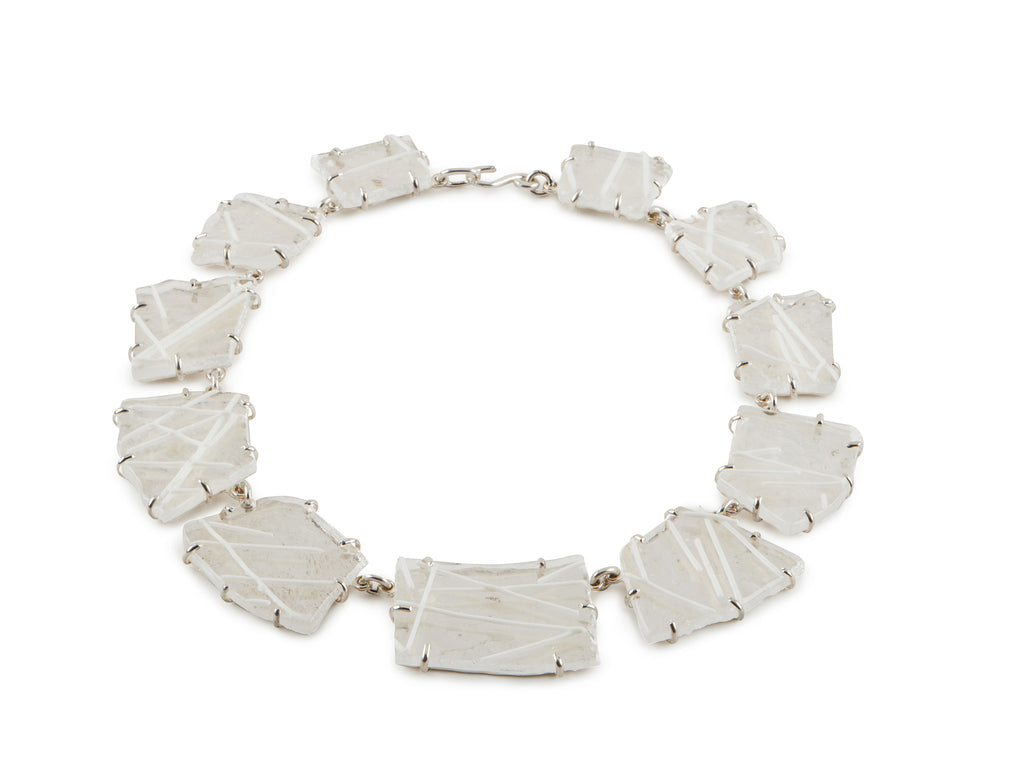 Clear Glass Necklace with White Design