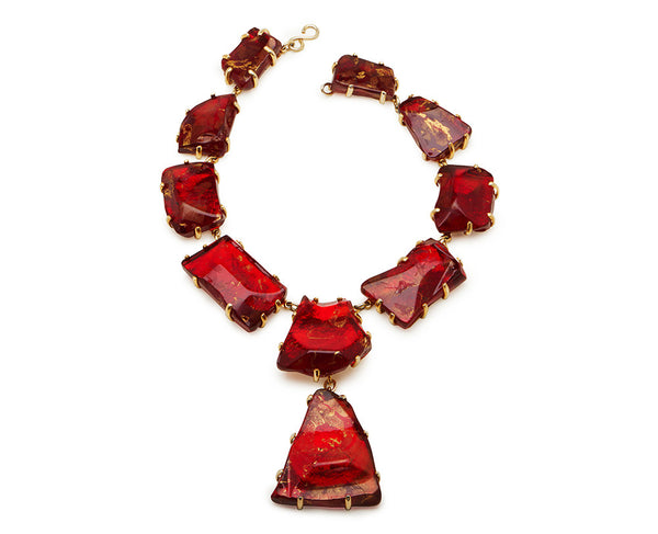Ruby Red Glass Chunk Necklace, Gold Leaf