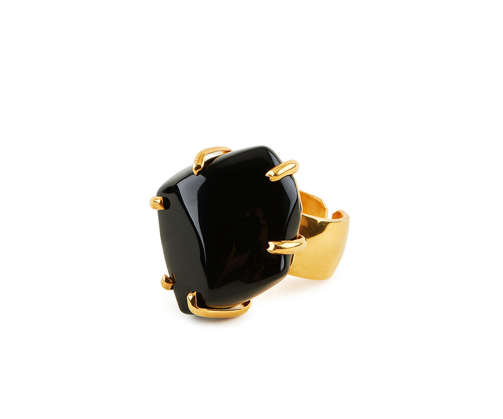Black Glass Chunk Ring