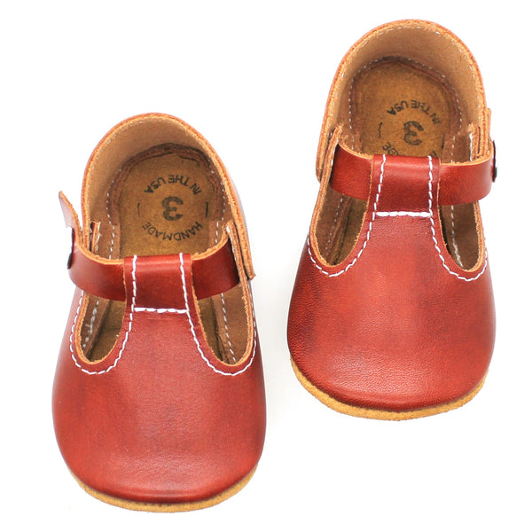 the original soft-soled t-strap: chestnut (RTS)