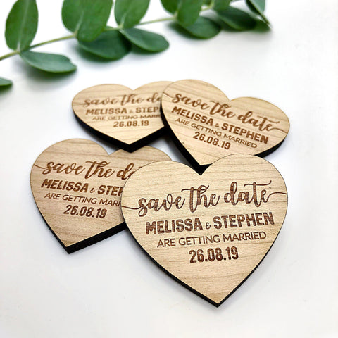 "Save The Date Magnet - Personalised Save The Date Wooden Magnets ""Calligraphy"""