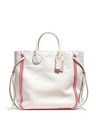 Coach Tall Tatum Tote In Neon Pop Lacing Whiplash Leather