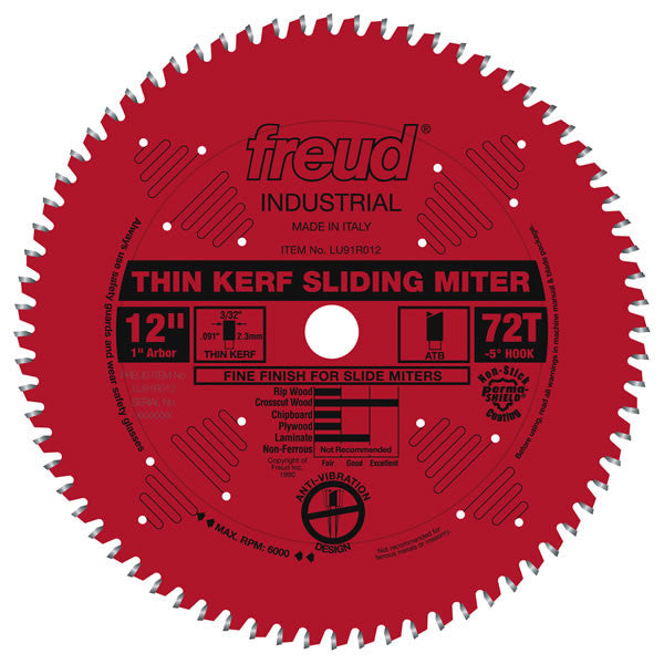 Thin Kerf Sliding Compound Miter Saw Blade with Permashield Coating