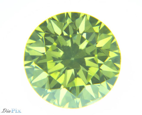 0.37 Ct. Round Brilliant VS1 Fancy Vivid Greenish Yellow