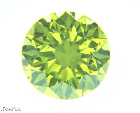 0.39 Ct. Round Brilliant VS1 Fancy Vivid Greenish Yellow