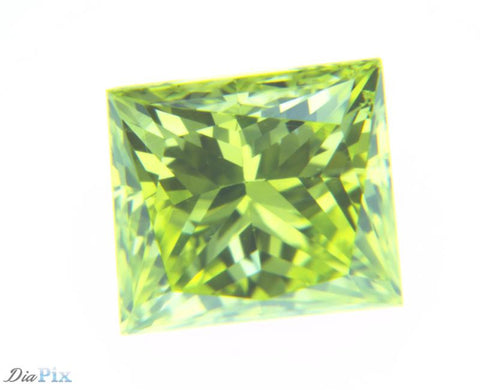 0.37 Ct. Princess VS1 Fancy Vivid Greenish Yellow