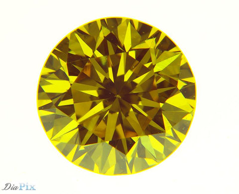 0.37 Ct. Round Brilliant VS1 Fancy Vivid Yellow Orange