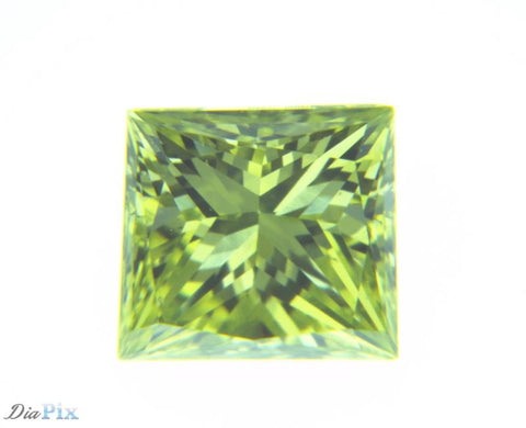 0.34 Ct. Princess VS1 Fancy Vivid Greenish Yellow