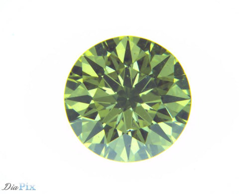 0.43 Ct. Round Brilliant VS2 Fancy Vivid Greenish Yellow