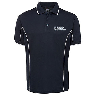 CDU NAVY MENS POLO WITH PIPING - Charles Darwin University Bookshop  - 1