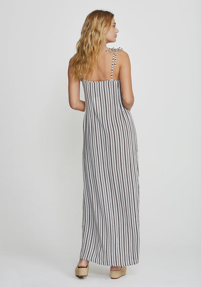 Martin Tie Slip Maxi Dress Black - Auguste The Label