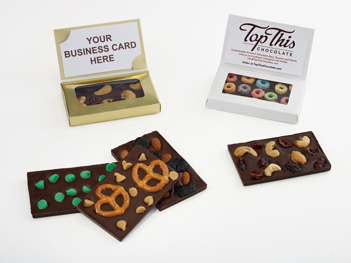 Chocolate Mini Bars (Business Card Size) with Toppings