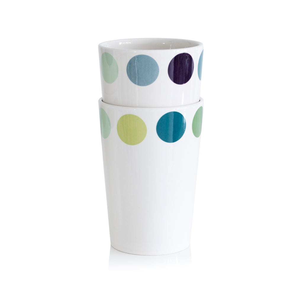 2 X Cup, Dot - 2 different blue/green variations