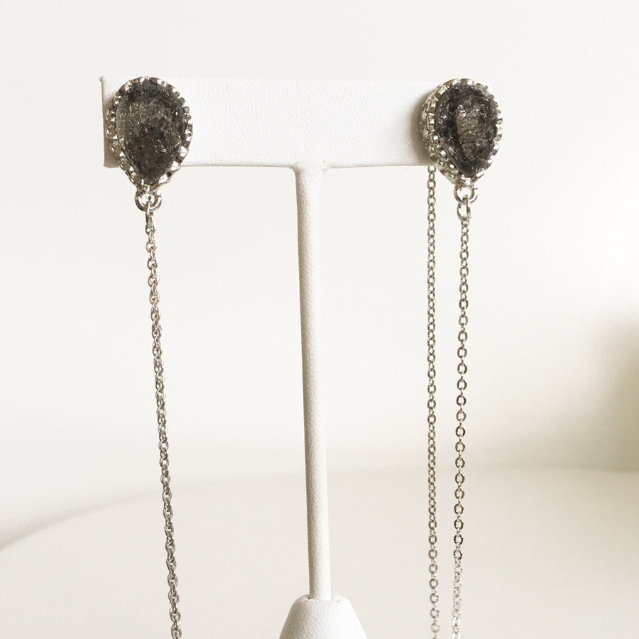 Silver plate chain and druzy post style ear jackets