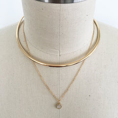Multi layer double choker necklace with pave stones