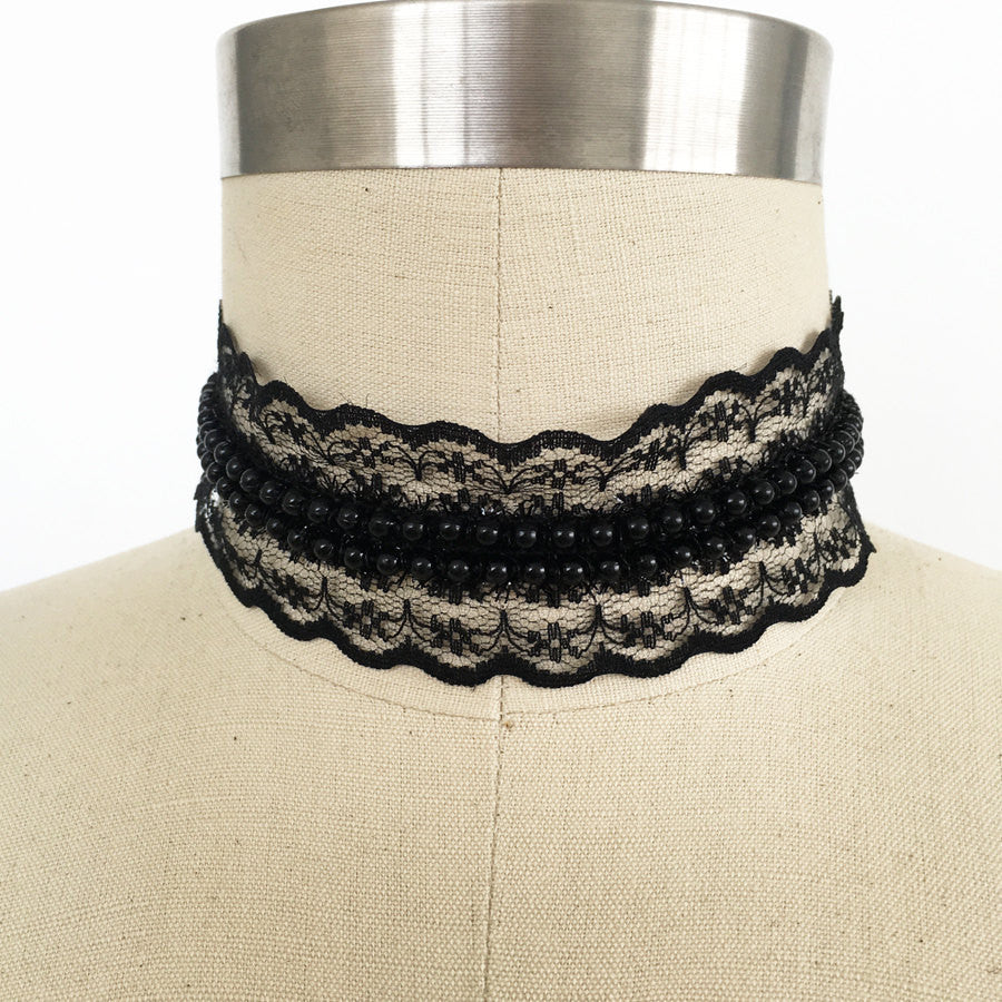 Victorian delicate lace beaded choker necklace