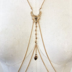 Boho festival bodychain with beads and filigree charm