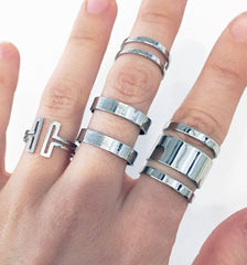 Modern ring set in silver plate, 4 PIECE SET