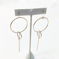 Geometric hoop dangle modern bar earrings