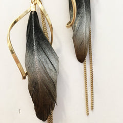 Whimsical and chic feather swirl fringe earring with metallic sheen in black