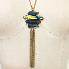 Rainbow quartz healing point stone chain tassel necklace