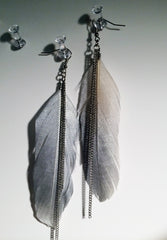Shoulder duster Birds of a feather Super light handmade feather earrings dipping in silver sparkle!