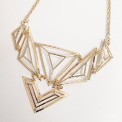 Multi dimensional gold cage bib triangle necklace with gold plated chains, spectacular, stunning item