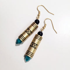 Delicate aztec bullet cylinder resin charm earring