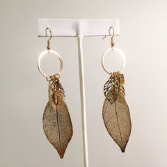 Multicharm filigree leaf charm hoop earring electroplated gold dipped leaf