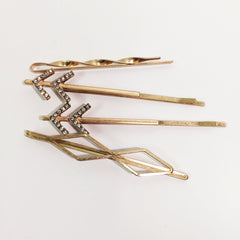 Stunning 4 set hair pin set with pavé rhinestones arrow in gold plate finish